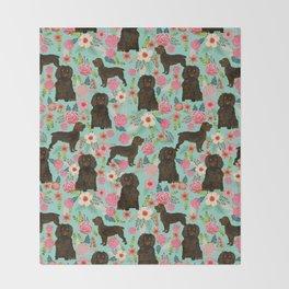 Boykin Spaniel custom dog breed floral pattern print by pet friendly dog art pet portraits Throw Blanket