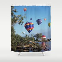 aviation Shower Curtains featuring Hot air balloons over lake by Bruce Stanfield Photographer