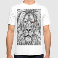 Black Lion Mens Fitted Tee MEDIUM White