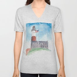Montauk Lighthouse Long Island New York Unisex V-Neck