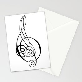 Magnificent Music Script Treble Clef Stationery Cards