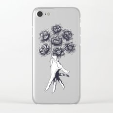 Hand with lotuses Clear iPhone Case