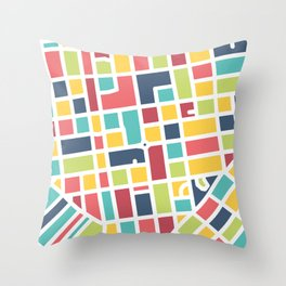 Lancaster, PA Block Map Throw Pillow