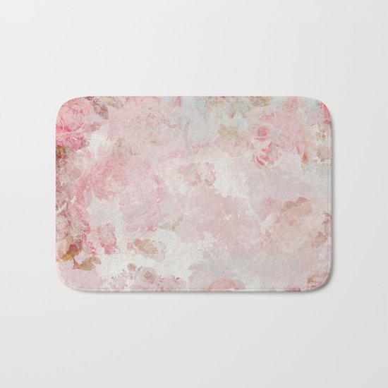 Vintage Floral Rose Roses painterly pattern in pink on #Society6 Bath Mat