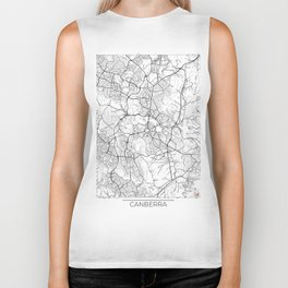 Canberra Map White Biker Tank