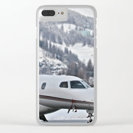 Private Jet & Snowy Mountains Clear iPhone Case
