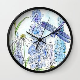 Watercolor Wildflower Garden Dragonfly Blue Flowers Daisies Wall Clock