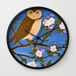Night Owl on Blossoming Tree Wall Clock