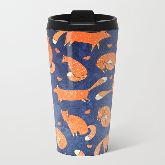 Foxes at Night - Cute Fox Pattern Metal Travel Mug