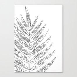Minimal Black and White Leaf Line Drawing Canvas Print