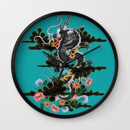 Dragon in Clouds with Peonies Motif Wall Clock
