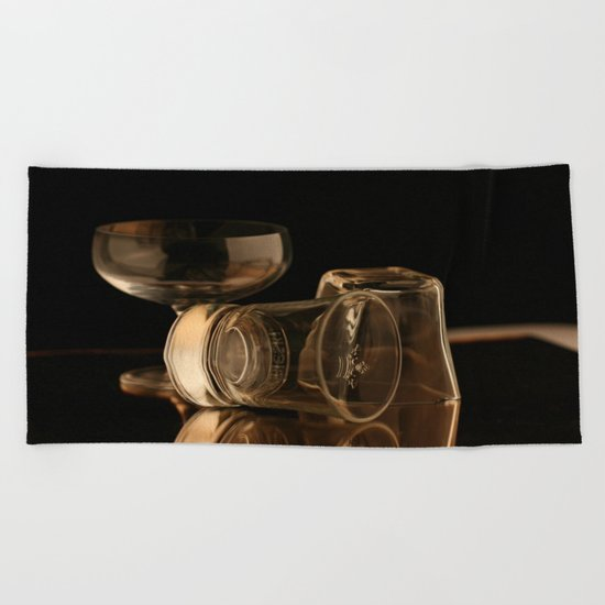 Glasses in Gold Tones Beach Towel