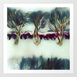 3 Winter Trees Deep Maroon Purple by CheyAnne Sexton Art Print