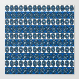 Blue Hearts Striped Canvas Print