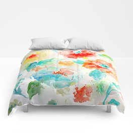 Watercolor Abstract Floral Pattern Red Orange Blue Comforters