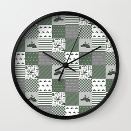 Snake House cheater quilt patchwork wizarding witches and wizards Wall Clock