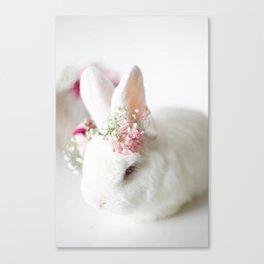 White Bunny Flower Crown Canvas Print