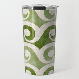 Vintage Wave Woodblock  - Green Pattern Travel Mug