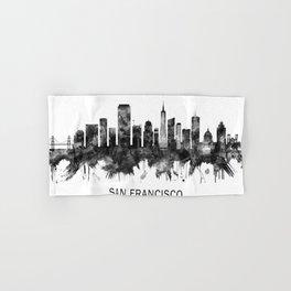 San Francisco California Skyline BW Hand & Bath Towel