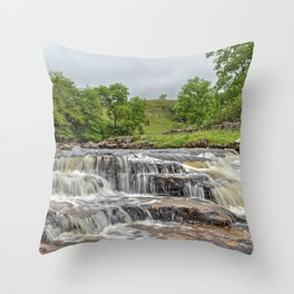 Ingleton fall, yorkshire landscape Throw Pillow