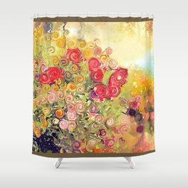 Colorful Flower Basket Painterly Abstract and Free Spirited Shower Curtain