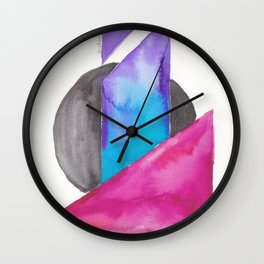180818 Geometrical Watercolour| Colorful Abstract | Modern Watercolor Art Wall Clock