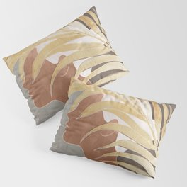 Woman with Golden Palm Leaf Pillow Sham