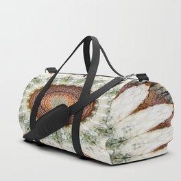 Textured Daisy Mandala Brown Duffle Bag