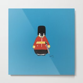 Penguin in Queen Guard Costume Metal Print