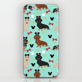 dachshund theme park vacation dogs iPhone Skin