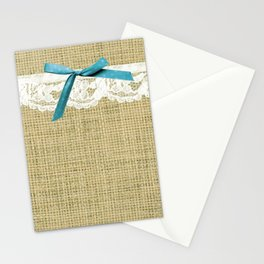 girly burlap and lace with blue bow Stationery Cards