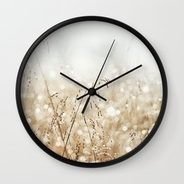 Dewdrop Nature Photography, Neutral Dew Drop, Gold White Brown Beige, Cream Water Drops Wall Clock