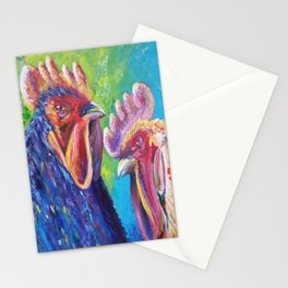 Colorful Roosters Stationery Cards