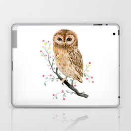 Watercolor Little Owl Portrait Laptop & iPad Skin