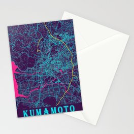 Kumamoto Neon City Map, Kumamoto Minimalist City Map Art Print Stationery Cards