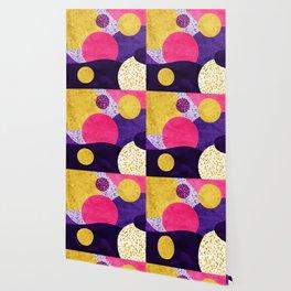 Terrazzo galaxy purple night yellow gold pink Wallpaper