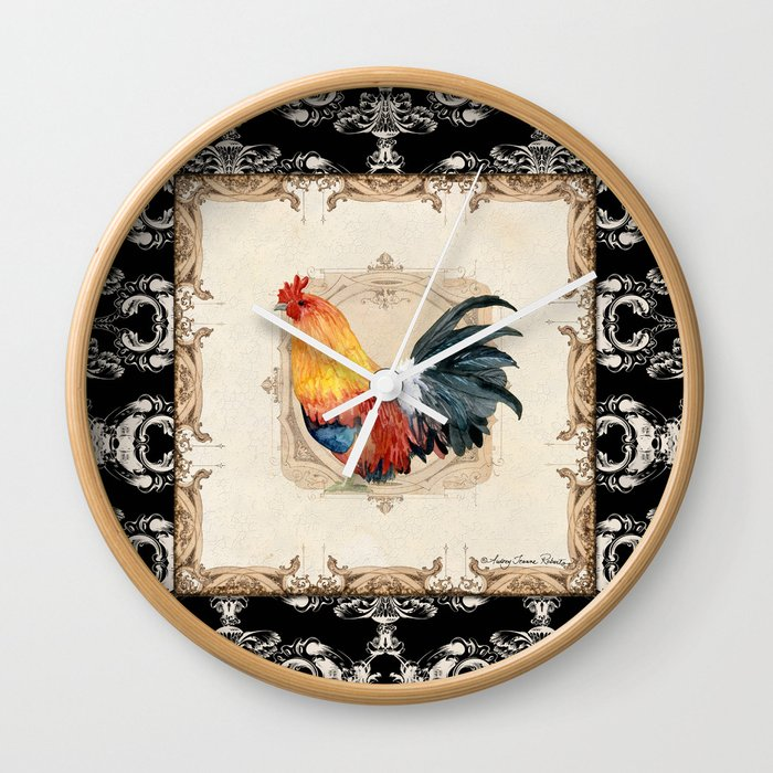 Kitchen Rooster Red Bantam Watercolor Damask Vintage Style Wall Clock by  audreyjeannes
