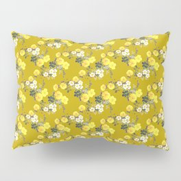 Mustard yellow botanical Floral watercolor /  Yellow Roses on mustard Pillow Sham