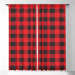 Black and Red Buffalo Plaid Blackout Curtain