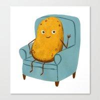 potato Canvas Prints featuring Couch Potato by Julia Bereciartu