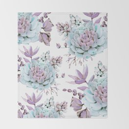 Turquoise and Violet Succulents Throw Blanket