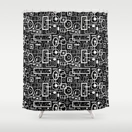 Rectangles and Elipses in BnW (2018) Shower Curtain