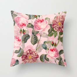 Vintage & Shabby Chic - Summer Roses Flower Garden Throw Pillow