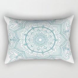 Teal Flower Mandala Rectangular Pillow