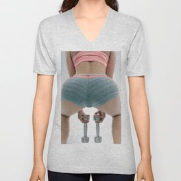 Sexy ass. Sportswoman with dumbbells. Unisex V-Neck