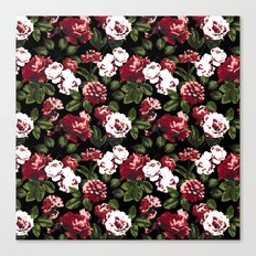 Honolulu Floral - Black Canvas Print
