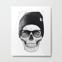 Black Skull in a hat Metal Print