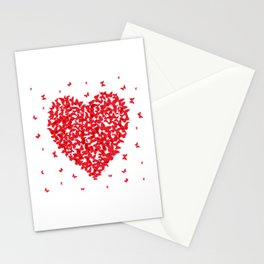 Heart - summer card design, red butterfly on white background Stationery Cards