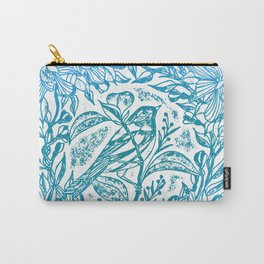 Songbird In Magnolia Wreath, Blue Linocut Carry-All Pouch