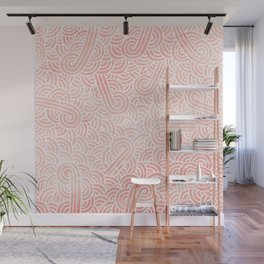 Rose quartz and white swirls doodles Wall Mural